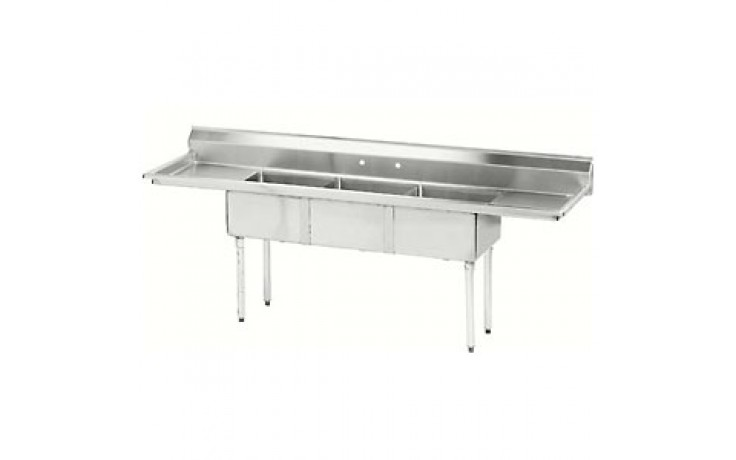 "Three 18"" x 18"" x 12"" Tub Two 18"" Drainboard 18 Gauge 304 Stainless Steel Scullery Sink"