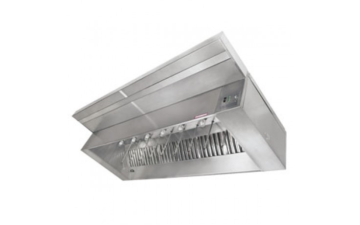 5' L 430 Stainless Steel Make-Up Air Hood (Complete) with 2 Fans