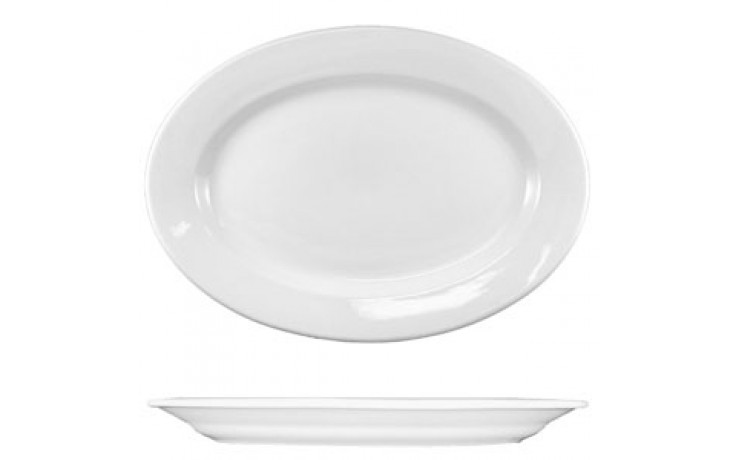 "12 1/2"" x 9"" Dover™ Wide Rim Platter - Bright White"
