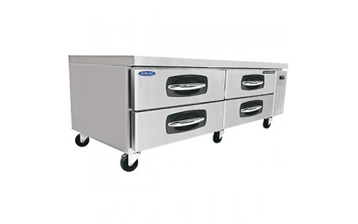 "70 1/2"" W Four Drawer Eight Pan Refrigerated Chef Base"