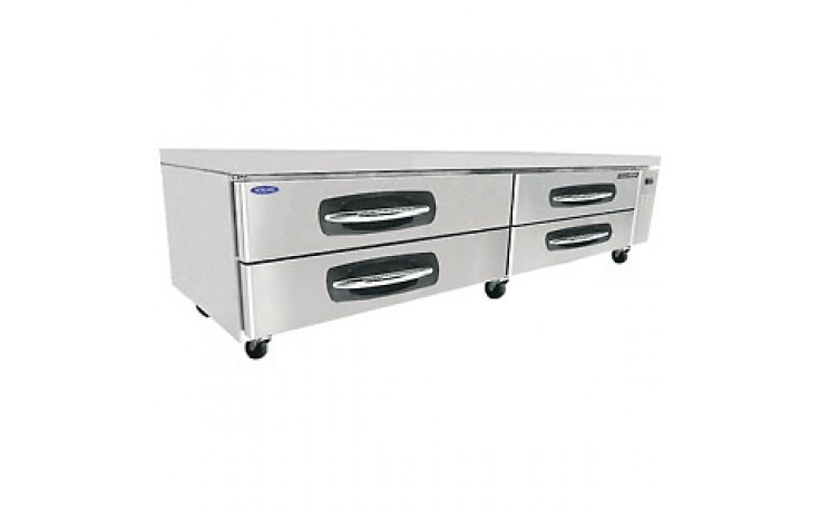 "96 1/6"" W Four Drawer Twelve Pan Refrigerated Chef Base"