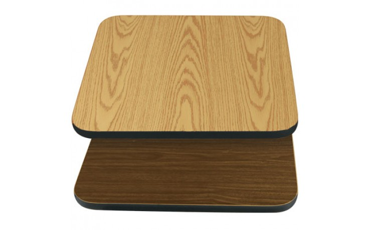 "24"" W x 30"" D x 1"" H Double-Sided Table Top - Black Edge Oak / Walnut Laminate"
