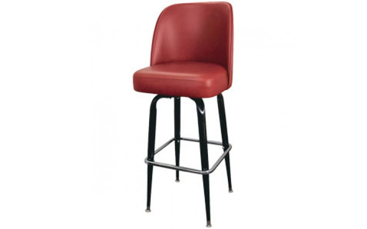 Black Box Frame Swivel Bar Stool - Burgundy