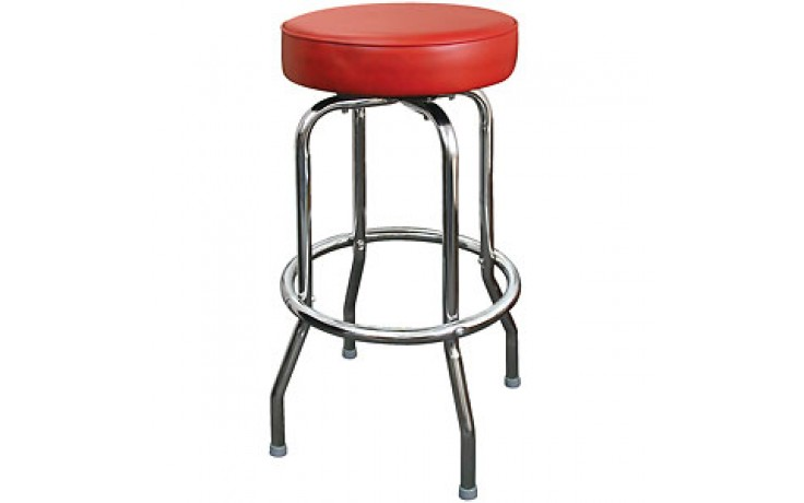 Chrome Backless Single Ring Swivel Stool - Red