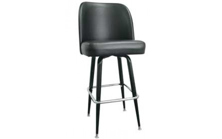 Black Club Seat Box Frame Classic Swivel Bar Stool - Black