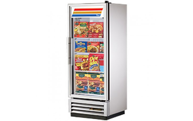 12 Cubic Ft One Glass Full Height Door Reach-In Freezer - Stainless Steel and Aluminum