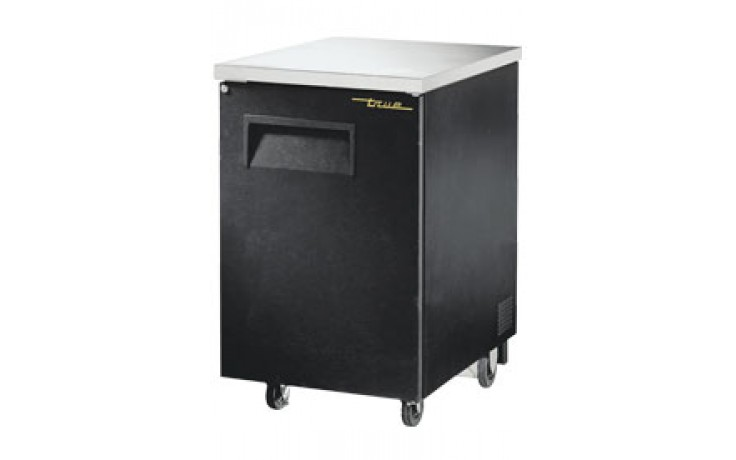 "1 Door 23 3/8"" Wide Black Back Bar Cooler"