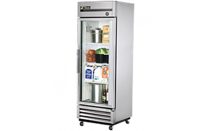 19 Cubic Ft One Glass Full Height Door Reach-In Refrigerator - Stainless Steel and Aluminum