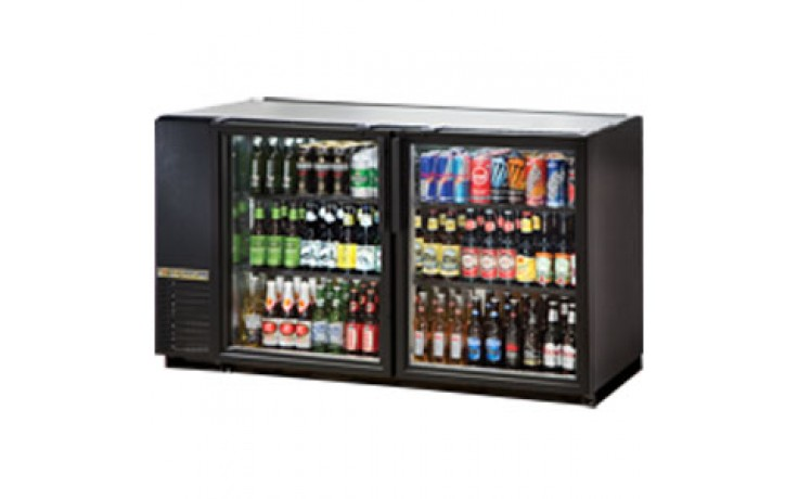 "59 7/8"" Wide Narrow Depth Galvanized Top Glass Door Back Bar Cooler - Black"