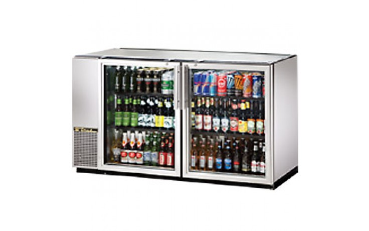 "59 7/8"" Wide Narrow Depth Galvanized Top Glass Door Back Bar Cooler - Stainless"