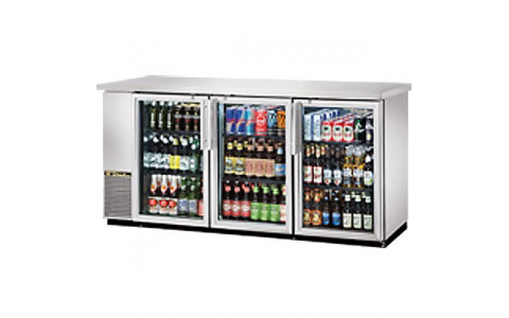 """73 1/8"""" Wide Narrow Depth Stainless Steel Counter top Glass Door Back Bar Cooler - Stainless"""
