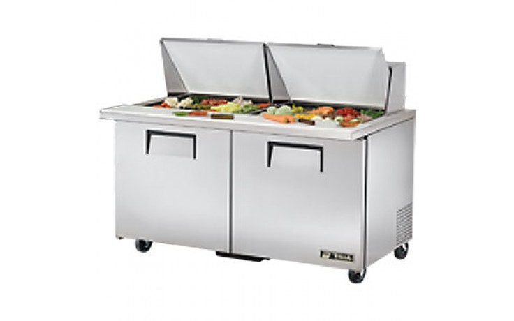 "60 3/8"" W Two Door Twenty-Four Pan Mega Top Sandwich/Salad Unit"