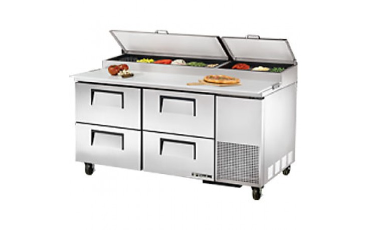 "67"" W Four Drawer Pizza Preparation Table"