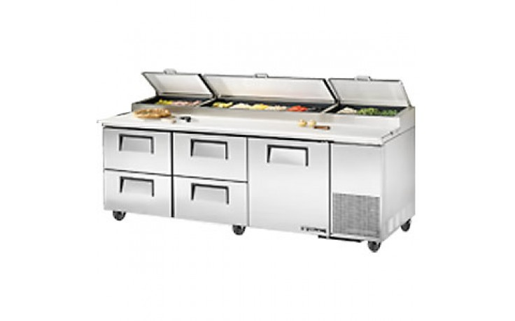"""93 1/4"""" W One Door Four Drawer Pizza Preparation Table"""