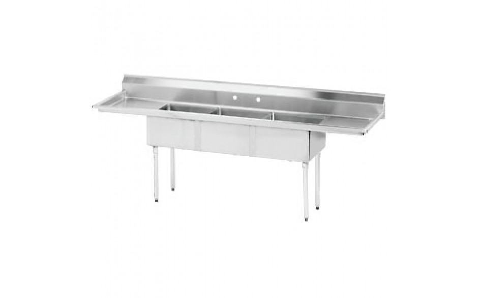 """Three 24"""" x 24"""" x 14"""" Tub Two 24"""" Drainboard 18 Gauge 304 Stainless Steel Scullery Sink"""