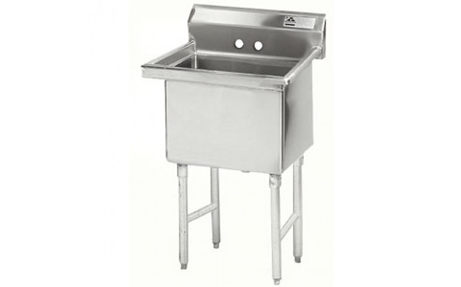 "One 24"" x 24"" x 14"" Tub No Drainboard 16 Gauge 304 Stainless Steel Scullery Sink"