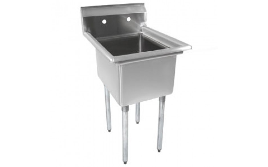 """One 18"""" x 18"""" x 12"""" Tub No Drainboard 18 Gauge 304 Stainless Steel Economy Scullery Sink"""