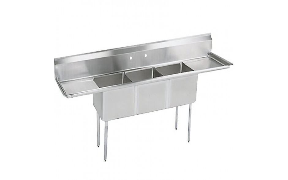 "Three 18"" x 18"" x 12"" Tub Two 18"" Drainboard 18 Gauge 304 Stainless Steel Economy Scullery Sink"
