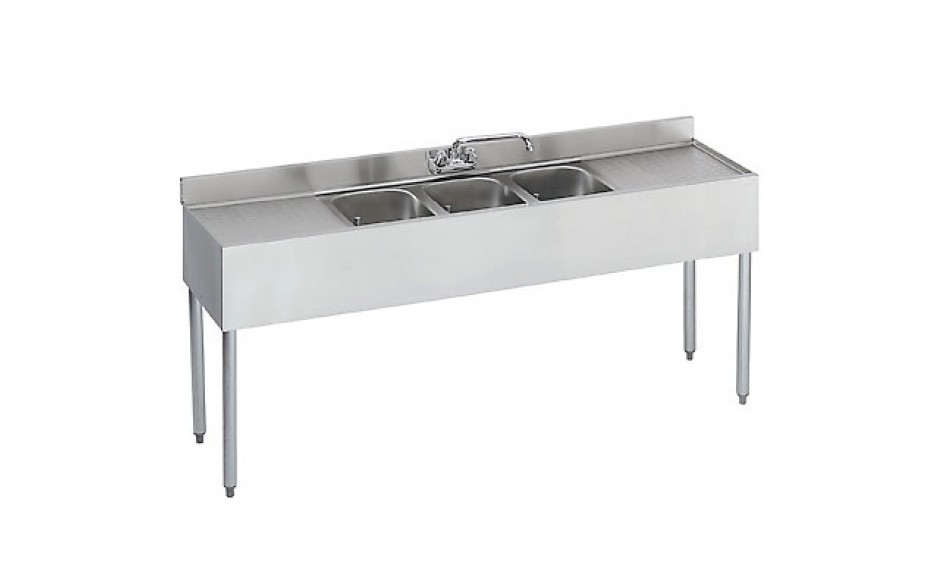 7' L 1800 Series 3 Compartment Sink