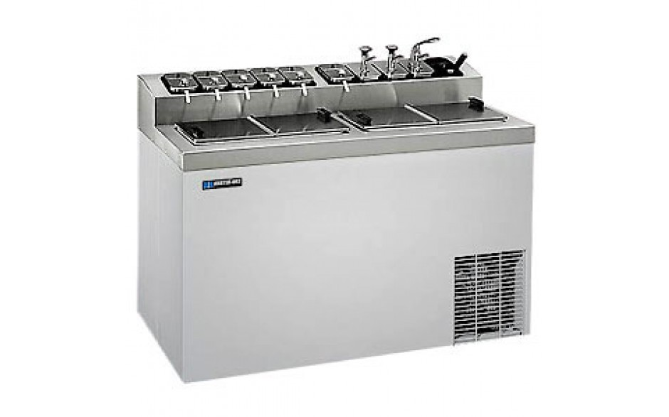 """54"""" W 10 Opening Top Rail 17 Tub Flavorail Cabinet - Stainless Steel"""