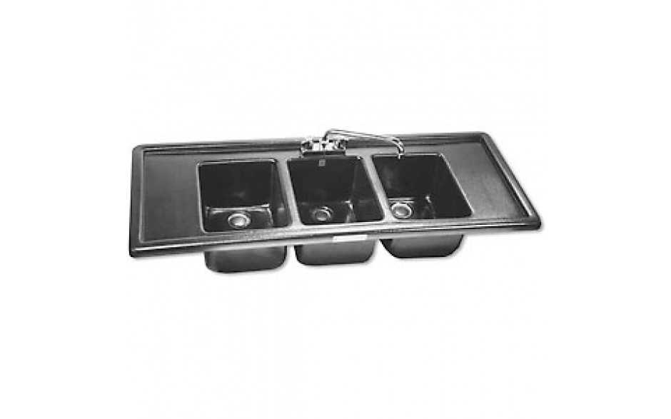 3 Wells with 2 Drainboards A.B.S. Drop-In Bar Sink