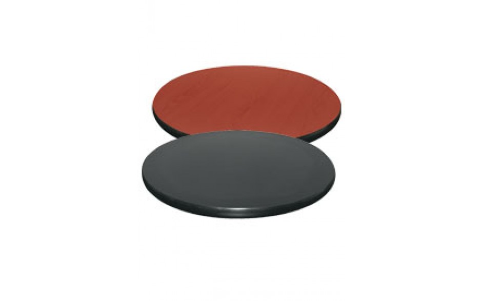 "30"" Diameter x 1"" H Double-Sided Table Top - Black Edge Black / Mahogany Laminate"
