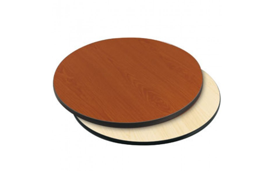 "24"" Diameter x 1"" H Double-Sided Table Top - Black Edge Cherry / Natural Laminate"