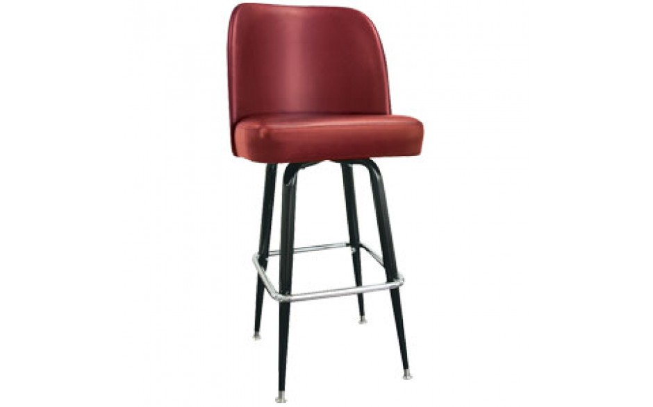 Burgundy Club Seat Box Frame Classic Swivel Bar Stool