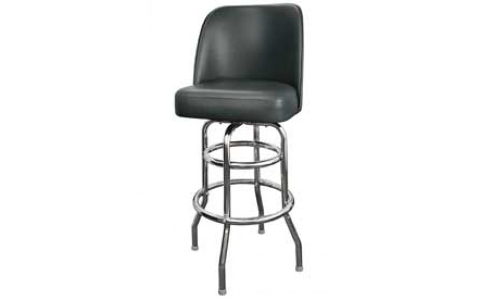 Chrome Full Back Classic Double Ring Swivel Bar Stool