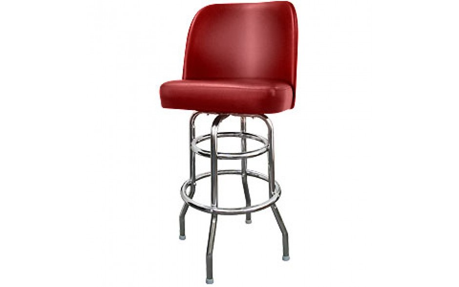Chrome Club Seat Classic Double Ring Swivel Bar Stool