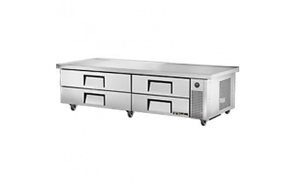 "86 1/4"" W Four Drawer Ten Pan Extended Top Refrigerated Chef Base"