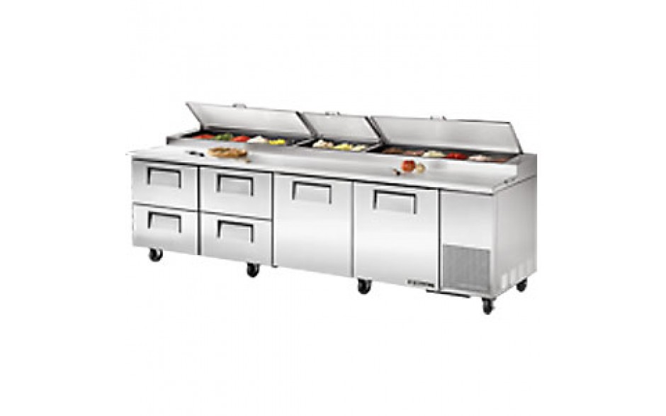 """119 1/4"""" W Two Door Four Drawer Pizza Preparation Table"""