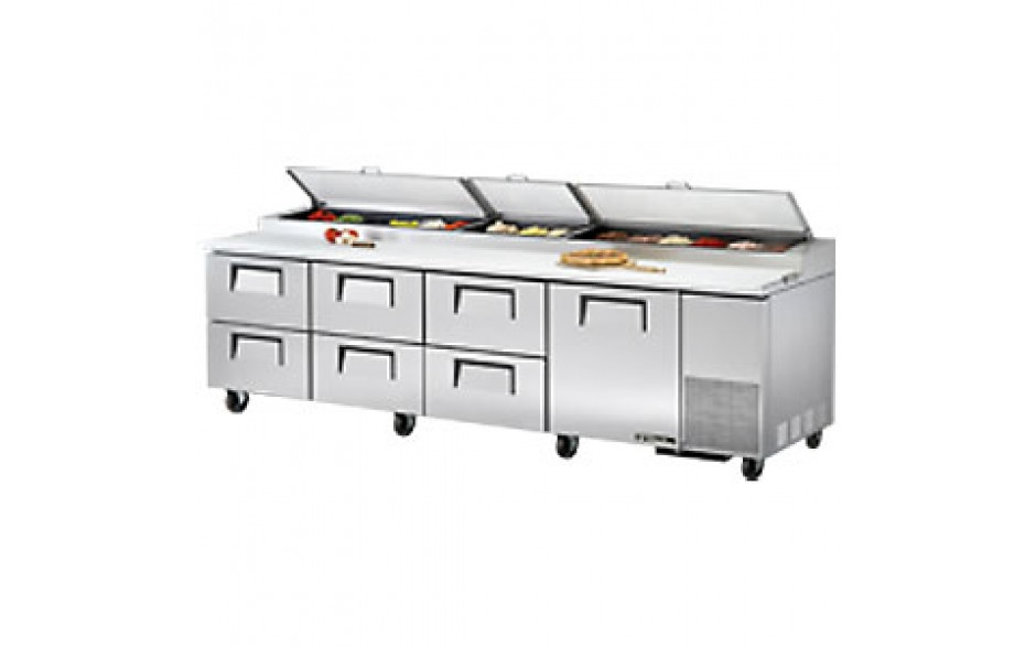 "119 1/4"" W One Door Six Drawer Pizza Preparation Table"