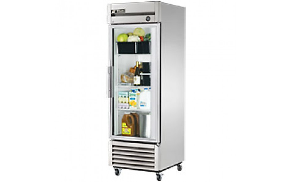 23 Cubic Ft One Glass Full Height Door Reach-In Refrigerator - Stainless Steel and Aluminum