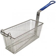 "13 1/4"" L x 5 5/8"" W x 5 11/16"" H Coated Handle Fryer Basket - Blue"