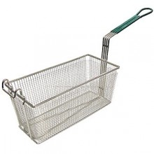 "13 1/4"" L x 6 1/2"" W x 5 13/16"" H Coated Handle Fryer Basket - Green"