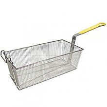 "16 3/4"" L x 8 3/4"" W x 6"" H Coated Handle Fryer Basket - Yellow"