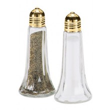 1 Oz. Tower Salt and Pepper Shakers - Gold Top
