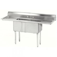 "Two 18"" x 18"" x 12"" Tub Two 18"" Drainboard 18 Gauge 304 Stainless Steel Scullery Sink"