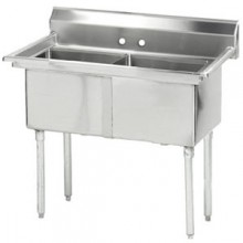 """Two 18"""" x 18"""" x 14"""" Tub No Drainboard 16 Gauge 304 Stainless Steel Scullery Sink"""