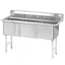 """Three 18"""" x 18"""" x 14"""" Tub No Drainboard 16 Gauge 304 Stainless Steel Scullery Sink"""