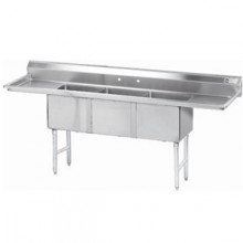 """Three 18"""" x 24"""" x 14"""" Tub Two 18"""" Drainboard 16 Gauge 304 Stainless Steel Scullery Sink"""