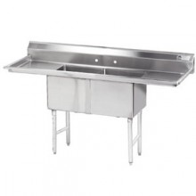 """Two 18"""" x 18"""" x 14"""" Tub Two 18"""" Drainboard 16 Gauge 304 Stainless Steel Scullery Sink"""