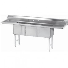 """Three 18"""" x 24"""" x 14"""" Tub Two 24"""" Drainboard 16 Gauge 304 Stainless Steel Scullery Sink"""