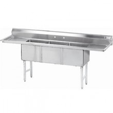 """Three 24"""" x 24"""" x 14"""" Tub Two 24"""" Drainboard 16 Gauge 304 Stainless Steel Scullery Sink"""