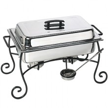 8 Quart Decorative Wrought Iron Frame Complete Chafer