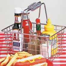 "9""W x 7""D x 5""H Chrome Rectangular Condiment Basket"