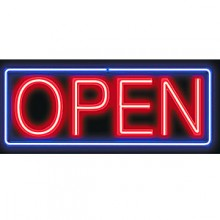 Box Border Budget Neon Sign - OPEN
