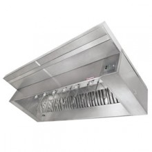 8' L 304 Stainless Steel Make-Up Hood (Complete) with 2 Fans