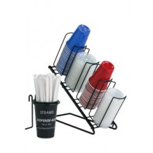 Angled 4 Cup and Lid Organizer shown wih optional Straw Holder